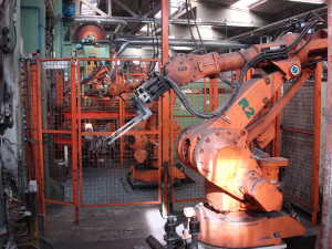 Production line with robots