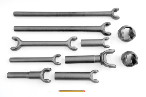 Forks with pinions and universal joints